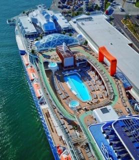 Celebrity cruises edge cruise ship top deck drone view