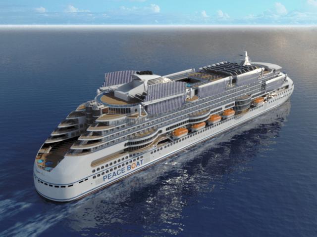 Peaceboat Ecoship cruises sails down