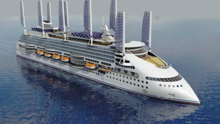 Peaceboat Ecoship cruises bow