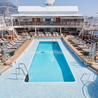 Silversea cruises silver muse cruise ship pool deck loungers