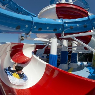 Carnival cruises Horizon cruise ship slide with child