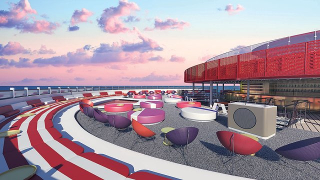 Virgin voyage cruises scarlet lady deck view