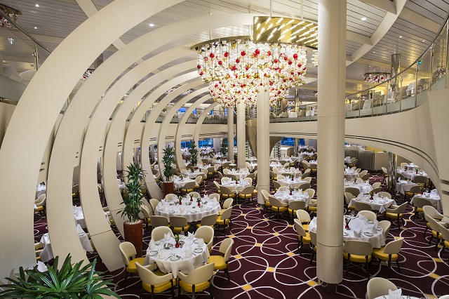 holland America Nieuw Statendam dining room view from stairs