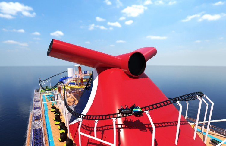 Carnival Cruises Mardi Gras rollercoater and funnel