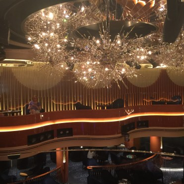 Holland America Statendam cruise ship mid ship chandelier over Lincoln Centre stage