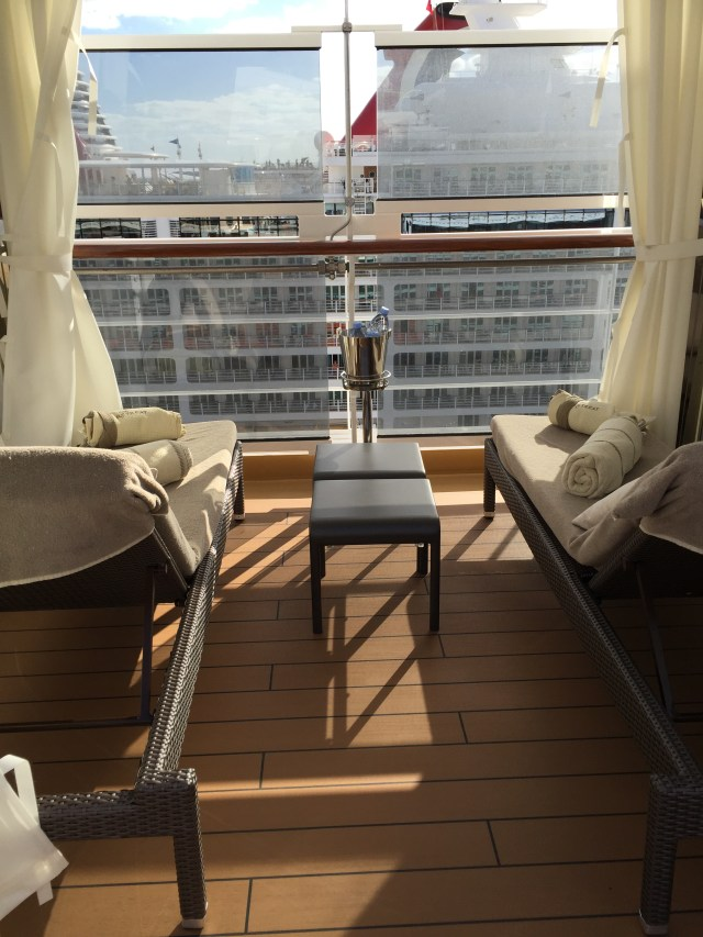 Holland America Statendam cruise ship retreat area private cabana and champagne