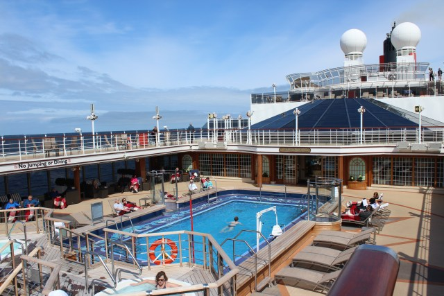 Cunard Queen Elizabeth pool docked in Vancouver for Alaska cruise