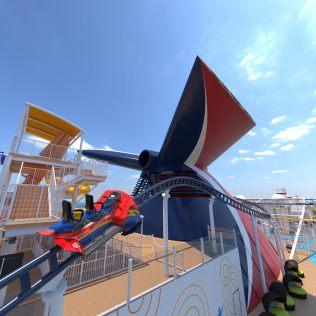 Carnival Cruises Mardi Gras roller coaster two person