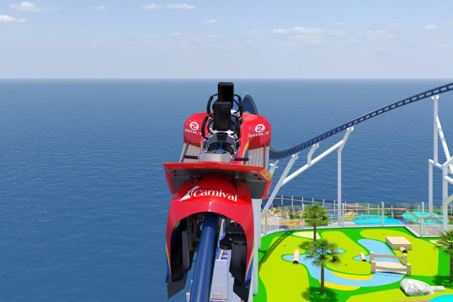 Carnival Cruises Mardi Gras Roller coaster back view