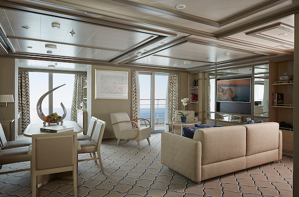 Silversea Cruises Silver Moon and Muse owners suite living room