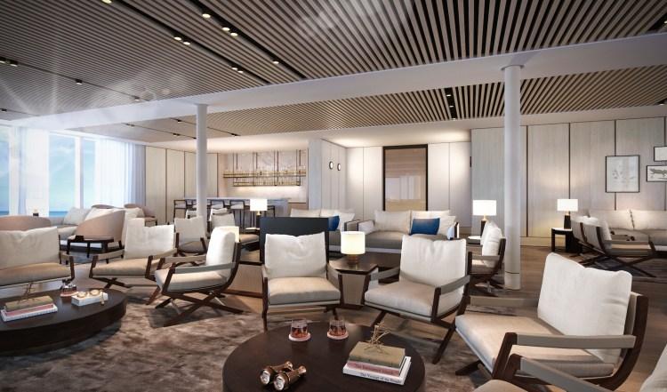 Silversea Origin cruise ship explorers lounge view