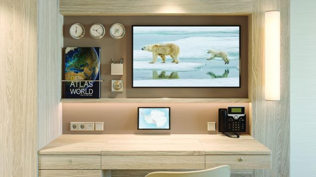 Lindblad Expeditions National Geographic Endurance cruise ship cabin desk