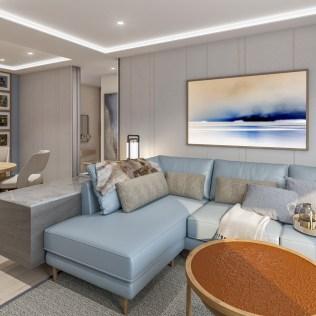 Viking Cruises Expeditions explorer suite living room sofa