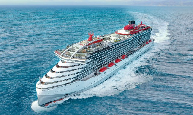 Virgin Voyages Scarlet Lady cruise ship top view