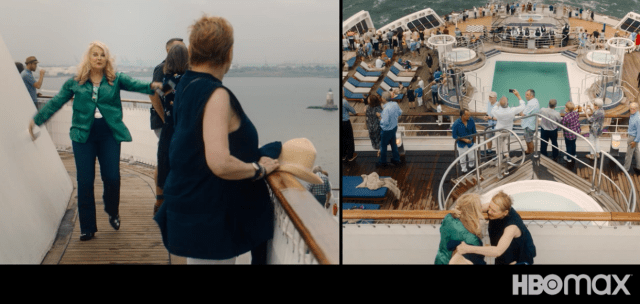 Cunard cruise line queen mary 2 HBO Movie Let Them All Talk swimming pool deck