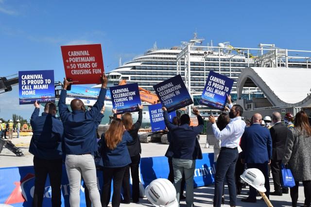 Port Miami cruise ship terminal F for Carnival Celebration cruise ship