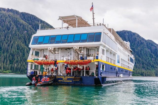 The Quest stern zodiac unloading in Le Conte Bay, Alaska