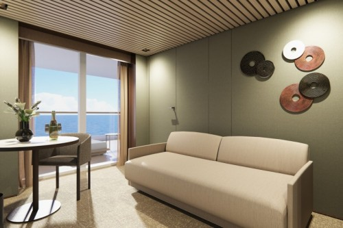 Norwegian cruise line prima norwegianprima thehaven aft-facing penthouse with master bedroom balcony livingroom rendering