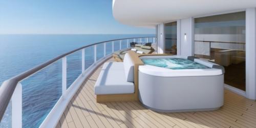 Norwegian cruise line prima norwegianprima the haven by norwegian hottub on balconyrendering