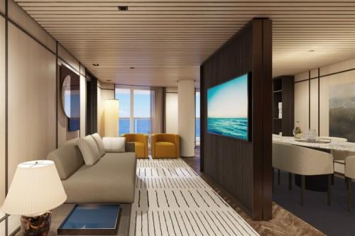 Norwegian cruise line cruise ship norwegianprima thehaven deluxe owner suite with balcony ivingroom rendering