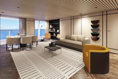 norwegian cruise line prima norwegianprima thehaven premier owner suite with large balcony livingroom rendering