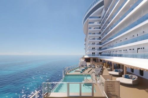 Norwegian cruise line prima norwegianprima ocean boulevard infinity beach sideview rendering