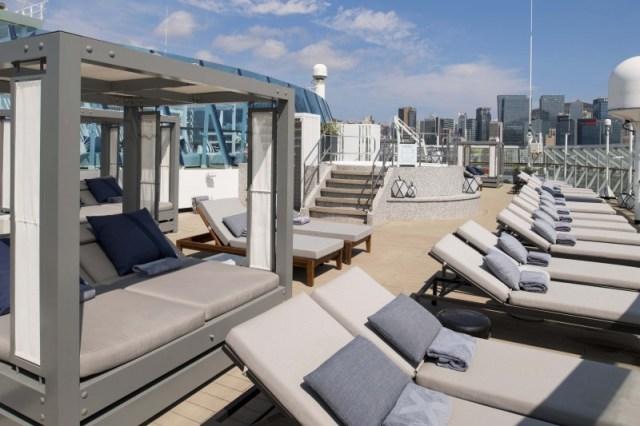 Celebrity Cruises retreat sundeck with modern cabanas