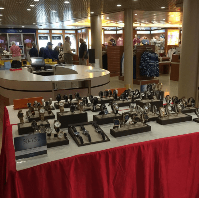 duty-free shopping watches in shops