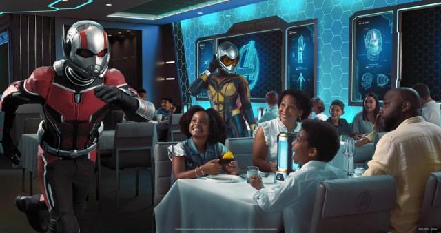 Disney Wish cruise ship Worlds of Marvel dining restaurant experience