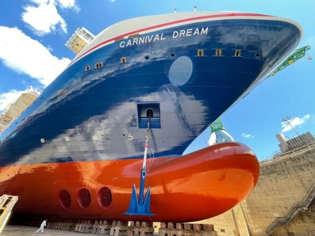 carnival dream drydock new hull design