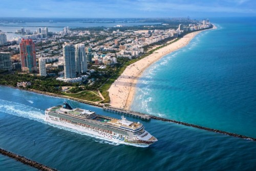 Norwegian Cruise Line Gem sails from Miami NCL new port terminal