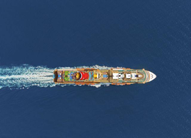 Carnival Cruise Line Mardi Gras top down aerial view