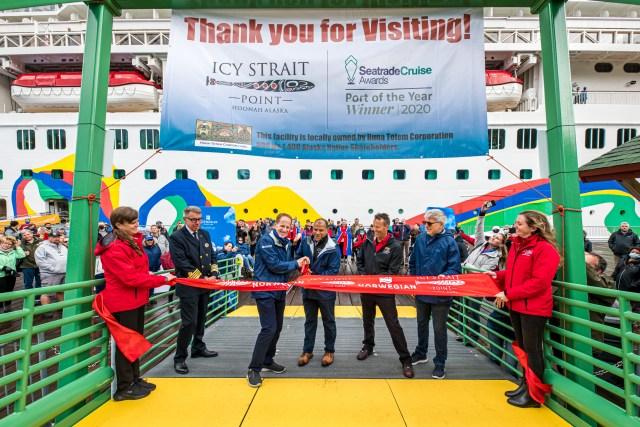 Norwegian Cruise Line Encore ribbon cutting new pier in Alaska