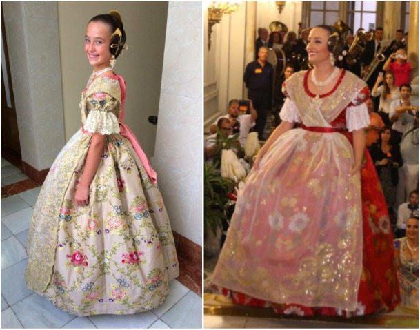 Así son los trajes que han lucido Daniela Gómez y Rocío Gil al ser proclamadas Falleras Mayores de València