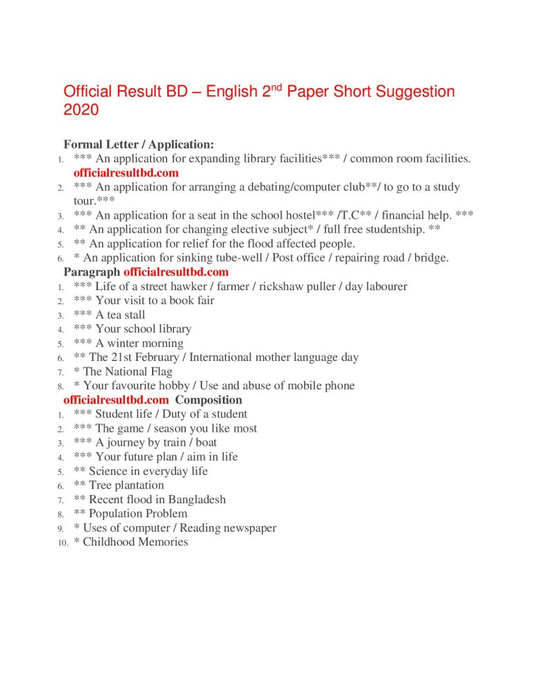 All Board SSC English 2nd Paper Suggestion 2020 Download