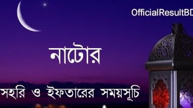 নাটোর জেলার সেহরি ও ইফতারের সময়সূচি ২০২১ Ramadan Calendar 2021 Natore Sehri & Iftar Time