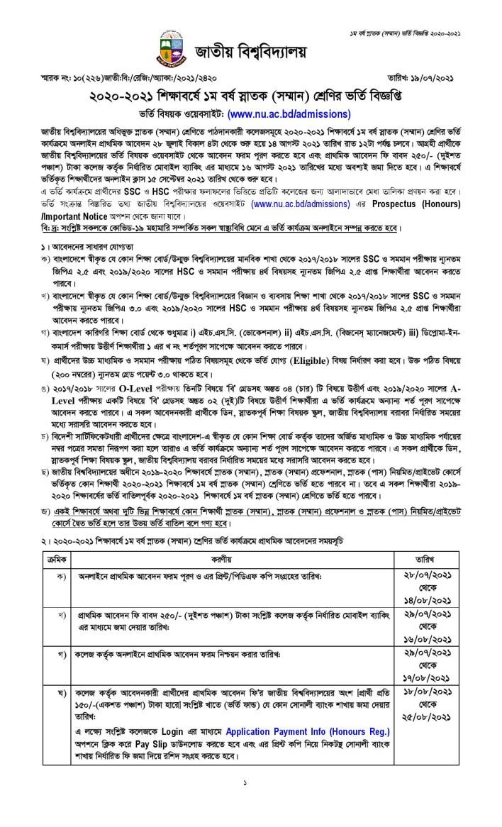 NU Admission Circular 2021 PDF Download for Session 2020-21