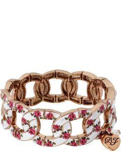 Betsy Johnson. Vintage Bow Flower Bracelet in Pink & White.