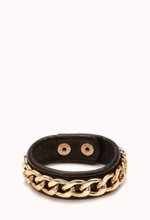 Forever 21. Faux Leather Chain Wrap Bracelet.