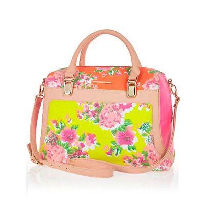 River Island. PINK FLORAL PANEL BOWLER BAG $80 http://us.riverisland.com/women/bags--purses/shoulder-bags/Pink-floral-panel-bowler-bag-647543