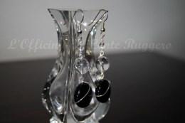 Orecchini in Cristallo di Rocca, Onice e filo placcato d'argento