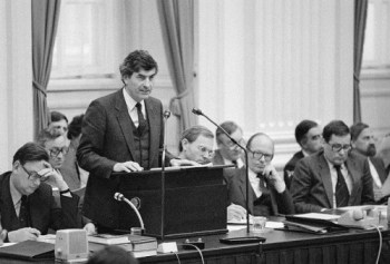 Prime Minister Ruud Lubbers of the Netherlands addresses parliament in The Hague, November 22 1982