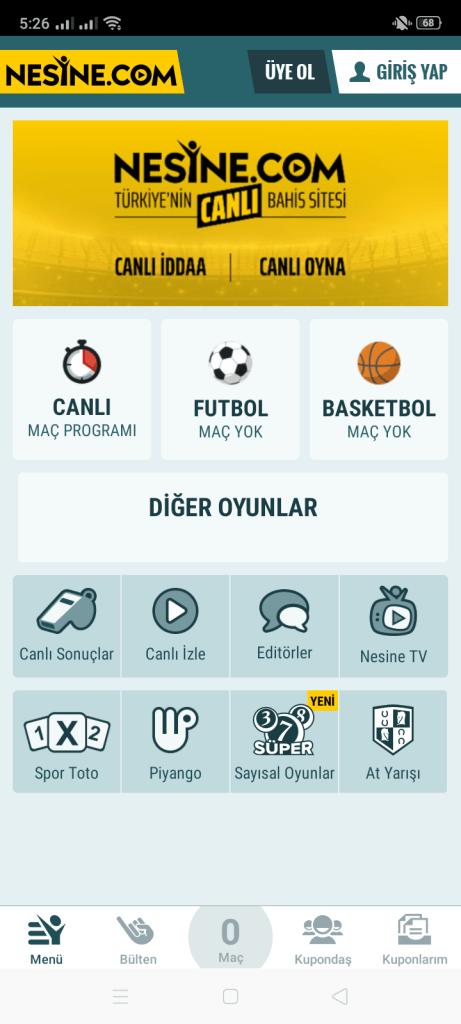 Screenshot of Nesine App
