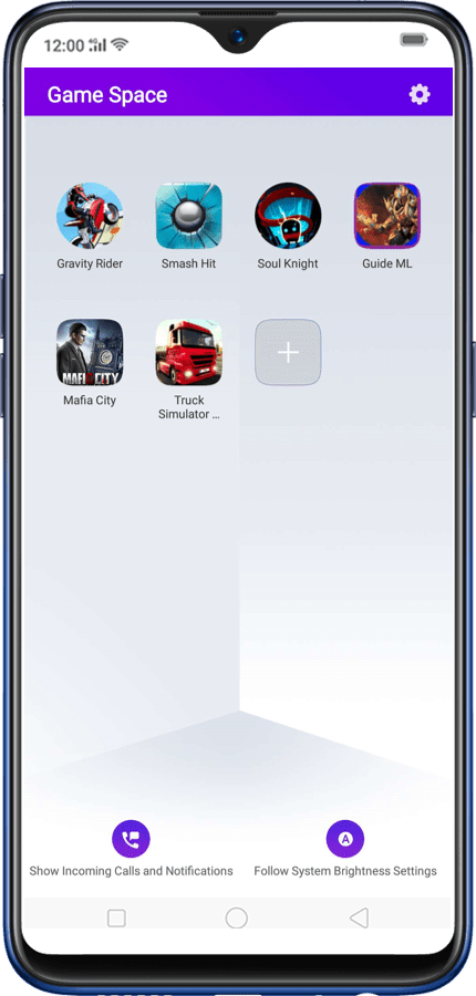 Screenshot of Oppo Game Space App