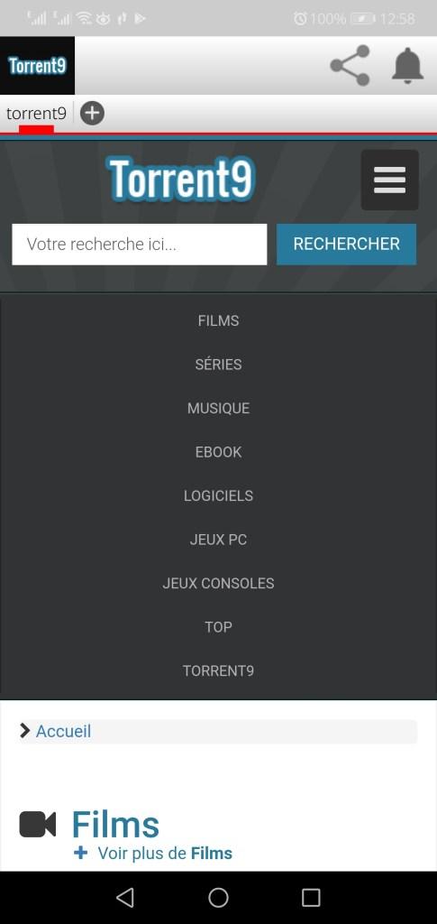 Screenshot of Torrent9 App