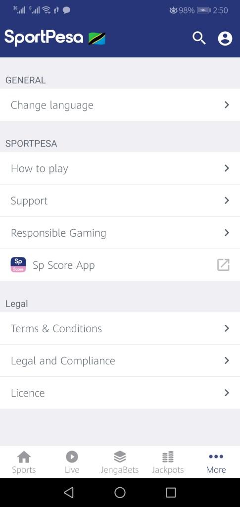 Screenshot of Sportpesa App