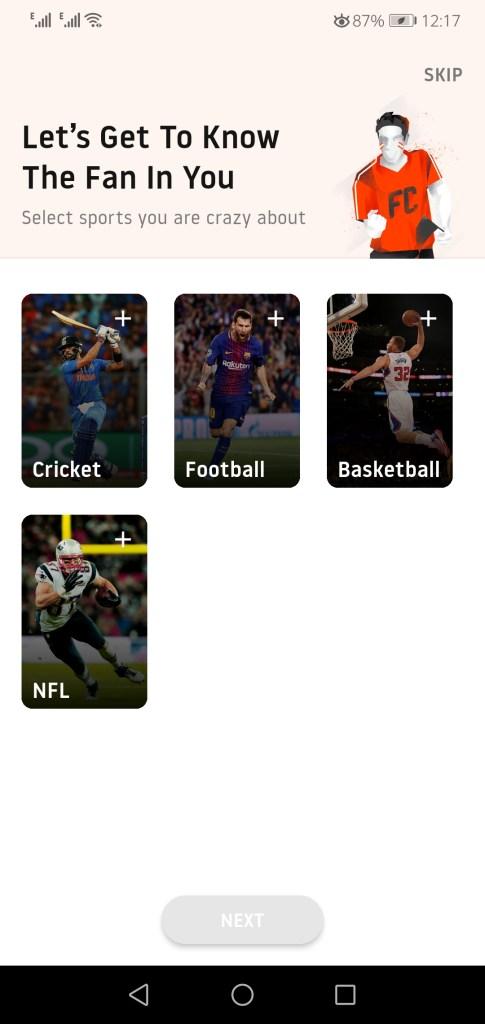 Sceenshot of Fan Code App