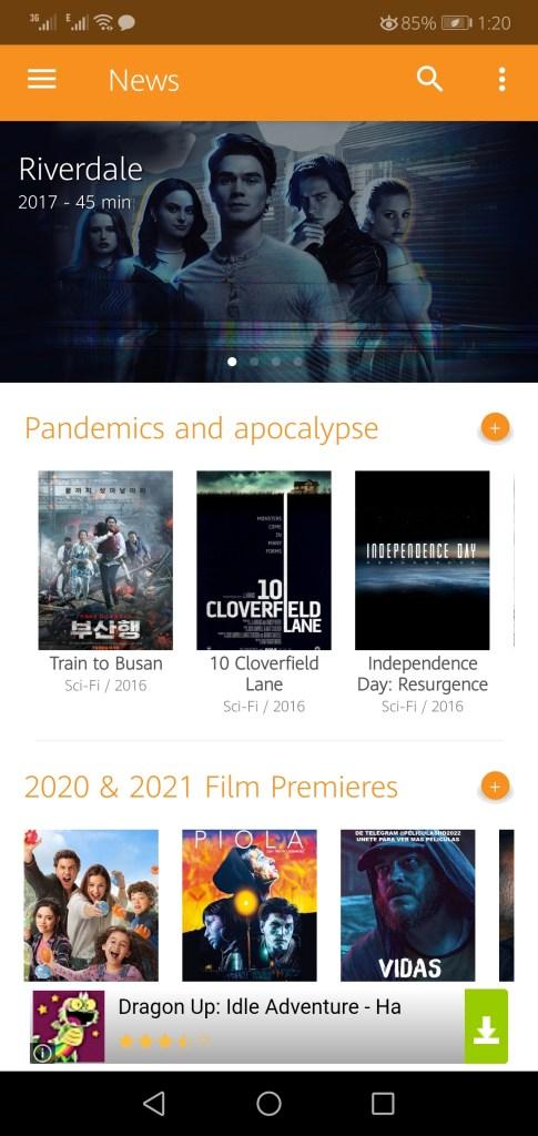Screenshot of PV Cine App