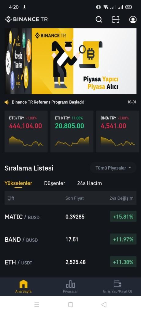 Screenshot of Binance TR App