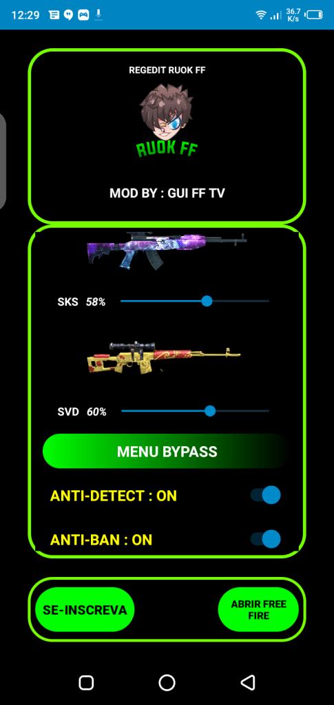 Screenshot of Regedit Macro FF App
